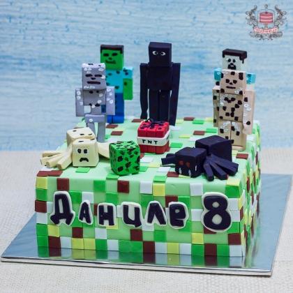 Торт с троллями без мастики