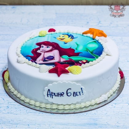 торт Русалка с сахарной печатью
