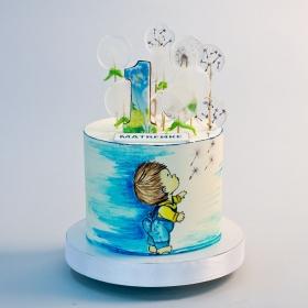 Торт на годик мальчику без мастики