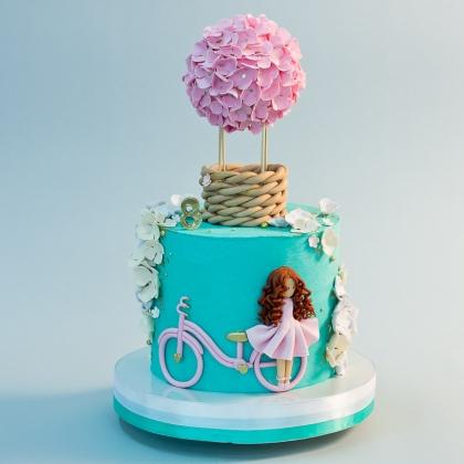 Торт девочка и воздушный шар