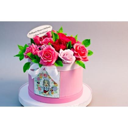 Торт коробка роз