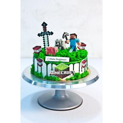Торт майнкрафт без мастики 1,3 кг