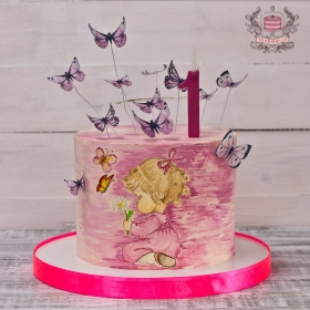 Торт на годик девочке без мастики