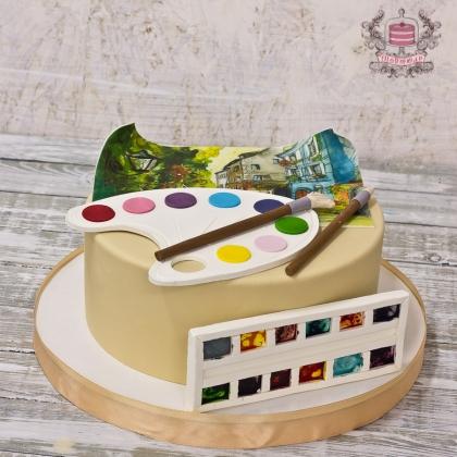 Торт с красками акварель