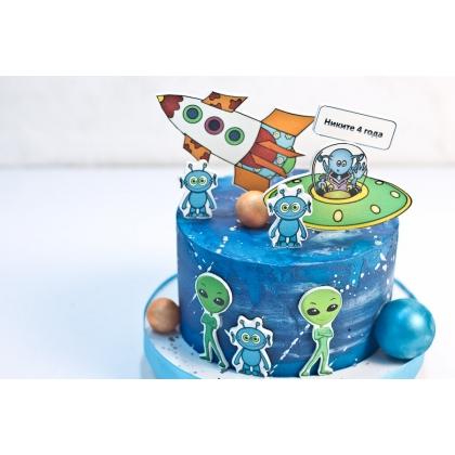 Торт с инопланетянами без мастики
