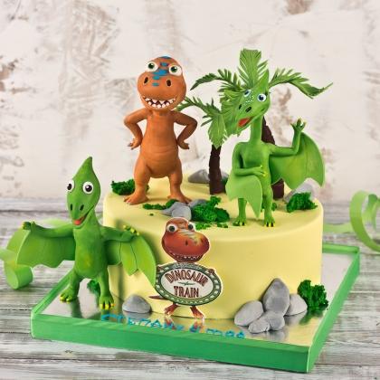 Торт поезд с динозаврами