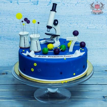 Торт химия с микроскопом