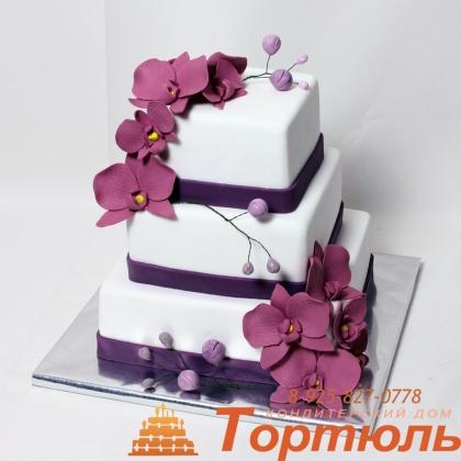 Торт свадебный с орхиреями
