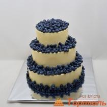 Торт свадебный с голубикой