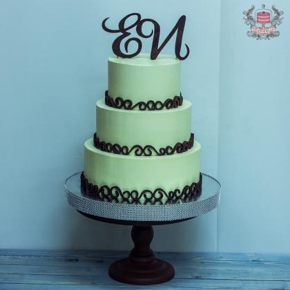 Торт свадебный без мастики с инициалами