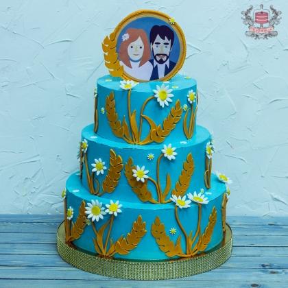 Тематический свадебный торт без мастики